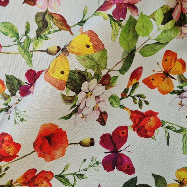 """Stoff Outdoorstoff Dralon Blumen Schmetterlinge """"Tuscany"""" wasserabweisend lichtecht 0,5"""