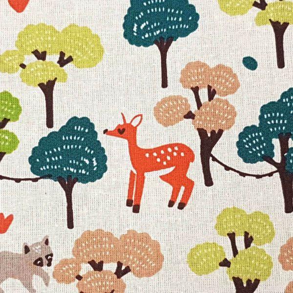 Stoff Baumwolle Meterware ecru Reh Fuchs Wald Waschbär Maya aus Frankreich 0,5