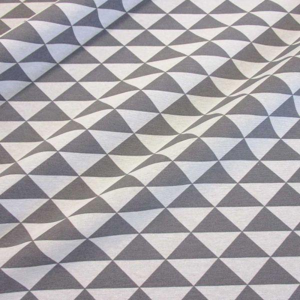 Stoff Baumwolle Mischgewebe Dreiecke grafisch grau weiss