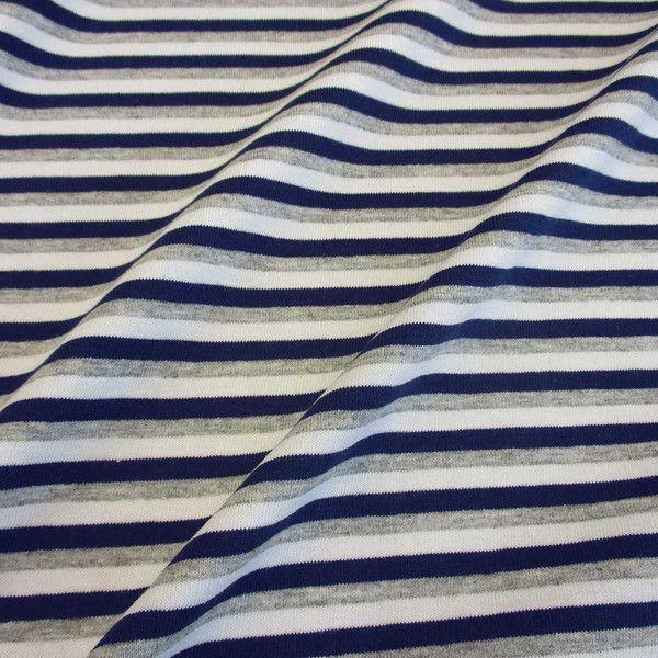 Stoff Baumwolle Jersey Ringel Streifen grau weiß marine Ökotex 100