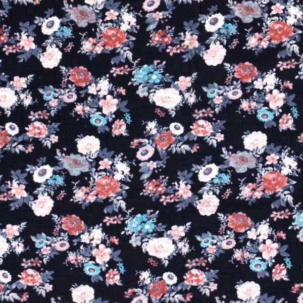 Stoff Baumwolle Musselin dunkelblau Blumen pastell 0,5