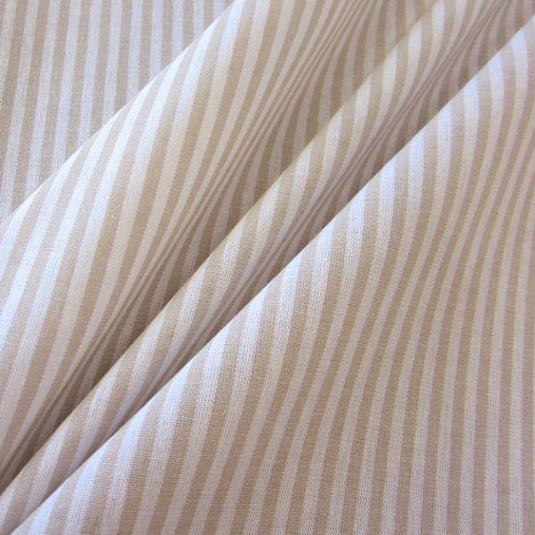 Stoff Baumwolle beige weiß Streifen 4mm gestreift durchgewebt