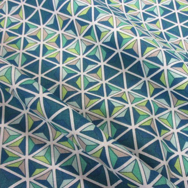 Stoff Baumwolle Grafik Mosaik Kaleidoskop achat blau grün petrol mint