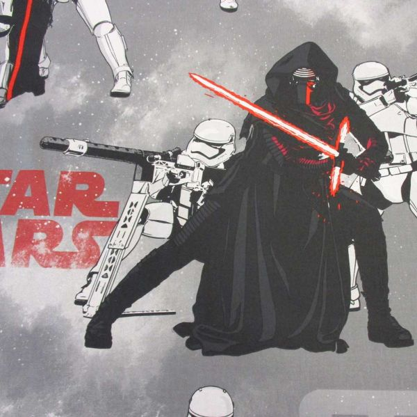 """Stoff Baumwolle Star Wars """"Smoke"""" Kylo Ren Klonkrieger grau weiß rot"""