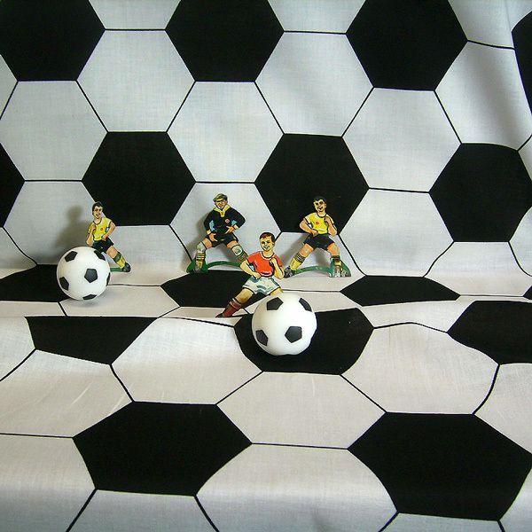 Stoff Baumwolle Fußball Fussball schwarz weiß Retro