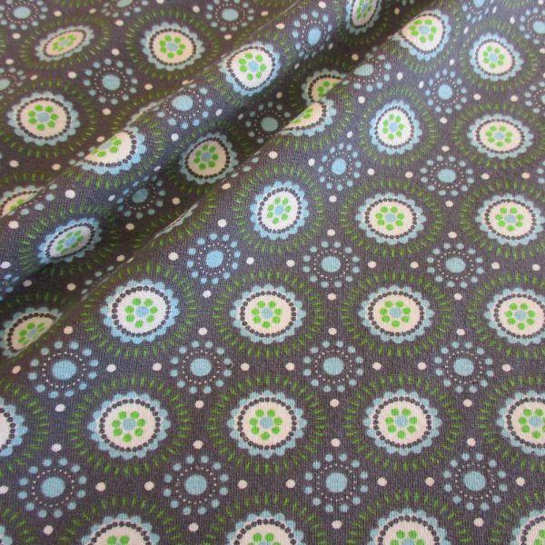 Stoff Baumwolle Jersey Retro Kreise grau hellblau