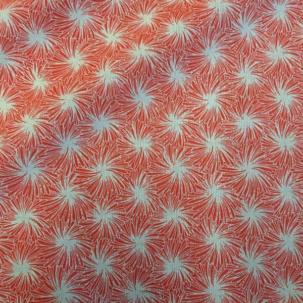 """Stoff Baumwollstoff """"Futon"""" Feuerwerk Wirbel Blüten koralle weiss 0,5"""