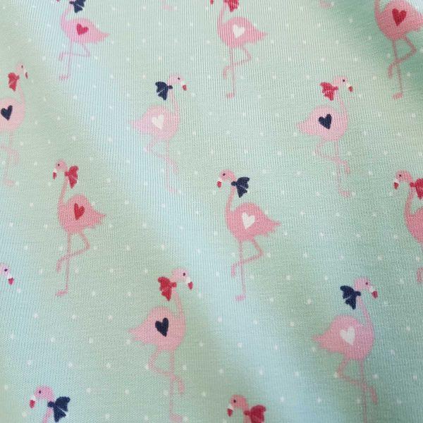 Stoff Jersey Baumwolle hell mint Pünktchen Flamingos