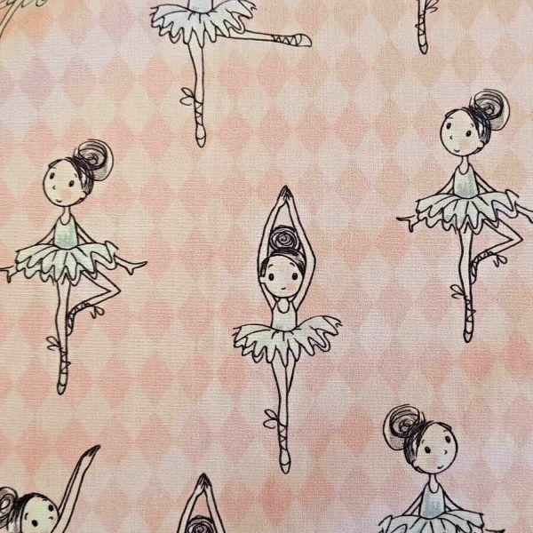 Stoff Baumwolle Percal rose Ballerina Raute 0,5