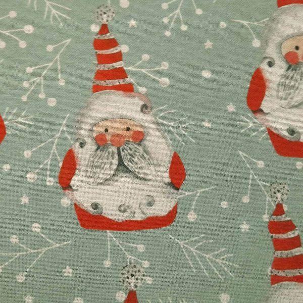 Stoff Baumwolle pflegeleicht Weihnachtsmänner graublau 0,5