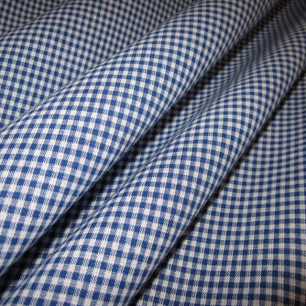Stoff Baumwolle Vichykaro blau weiß 2 mm kariert Karo Meterware