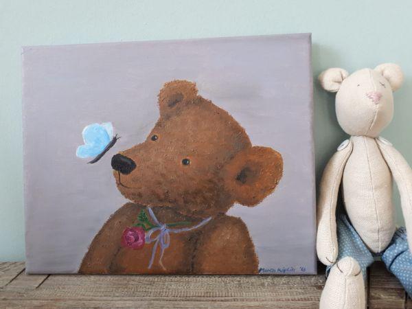 """Bild Öl auf Leinwand Teddy """"Schmetterling"""""""