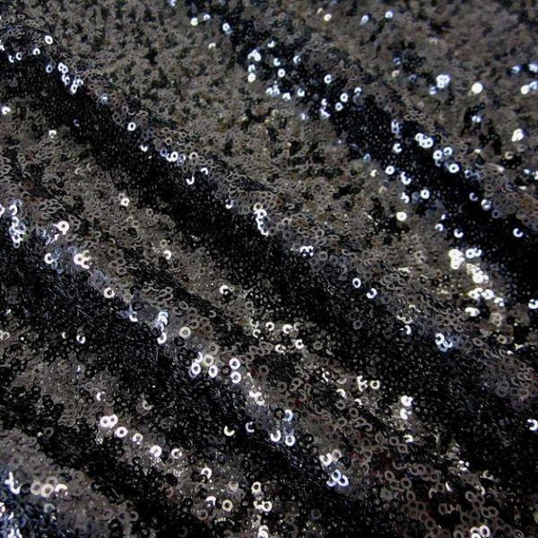 Stoff Meterware Pailletten schwarz Glitzer Glanz edel hochwertig