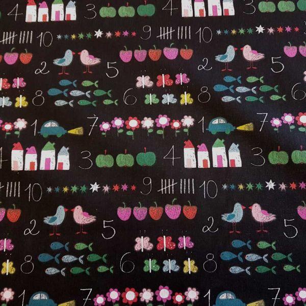 Stoff Baumwolle schwarz Kreidetafel Kinderstoff
