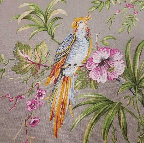 Stoff Baumwolle Meterware taupe Papagei Blumen