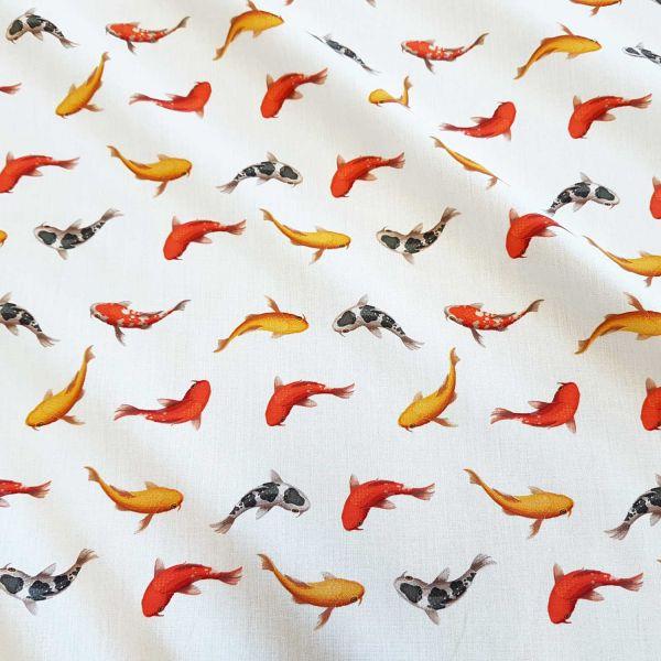 Stoff Meterware Baumwollstoff Popeline Koi Fisch Digitaldruck fein