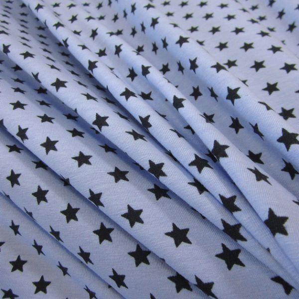 Stoff Baumwolle Jersey Sterne Stern hellblau marine