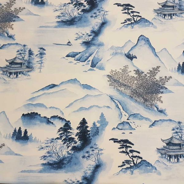 Kurzstück Stoff Baumwolle blau Japan tinte Tuschemalerei 0,75m x 1,40m