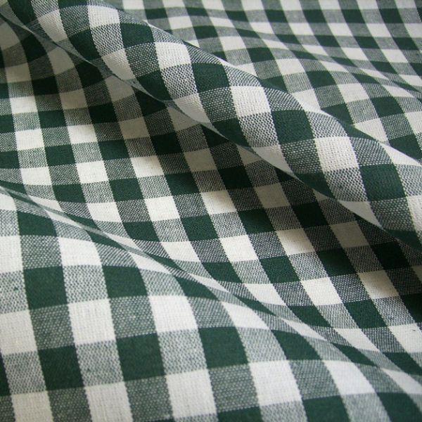 Kurzstück Stoff Baumwolle Bauernkaro tannengrün grün weiß kariert Karo 0,70m x 1,50m