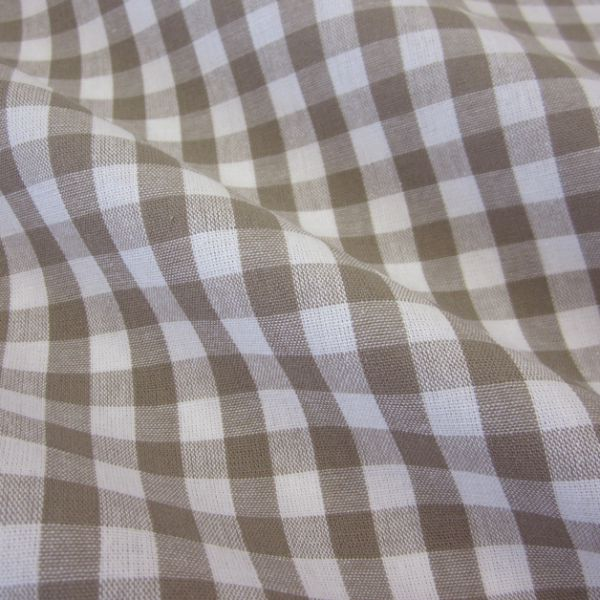 Stoff Baumwolle Bauernkaro taupe weiß kariert Karo Meterware 0,5