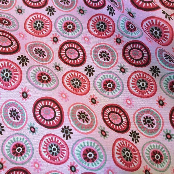 Stoff Meterware Baumwolle rosa pink grau Kreise Blumen Popeline Kleiderstoff