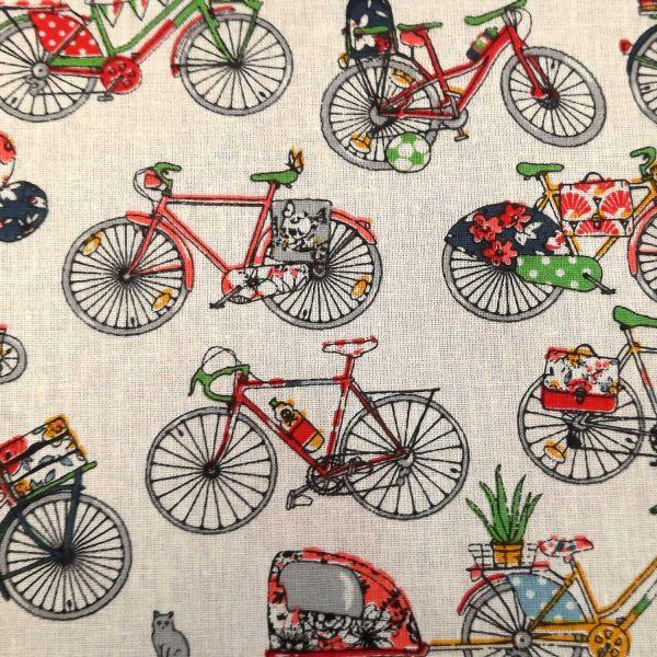 """Stoff Baumwolle Fahrräder """"Velos"""" ecru bunt 0,5"""