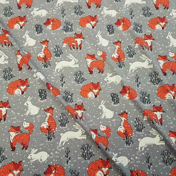 Stoff Meterware Jersey Baumwolle grau Fuchs Hase Schnee 0,5