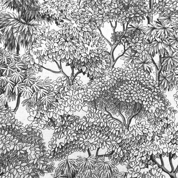Stoff Baumwolle Wald Bäume Urwald schwarz weiss 0,5