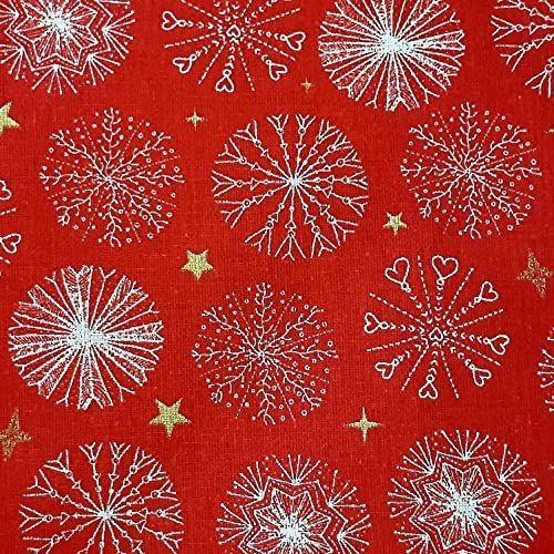 Stoff Baumwolle rot Schneeflocken gross Eiskristalle Sternchen gold 0,5 Weihnachtsstoff