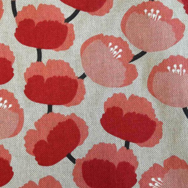 Stoff pflegeleicht natur rot rosa Mohnblume 0,5