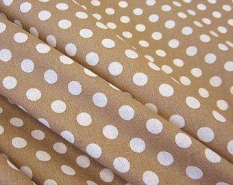 Stoff Baumwollstoff Punkte beige karamell weiss M 8 mm