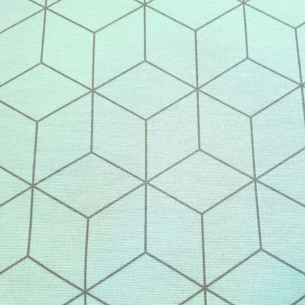 Stoff Baumwolle Meterware mint pastell grau Würfel retro Origami Grafik Dekostoff