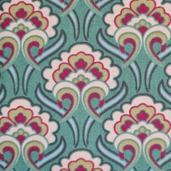 "Stoff Baumwolle ""Sybil"" Ornamente Art Deco Jadegrün Bordeaux Creme 0,5"