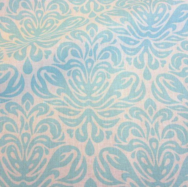 """Stoff beschichtet Baumwolle türkis Ornament celadon """"Trulli"""" Frankreich"""