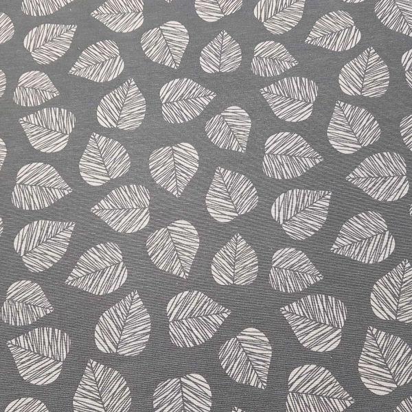 Stoff Baumwolle Blätter grau mittelgrau stabil Taschen Kissen Dekostoff