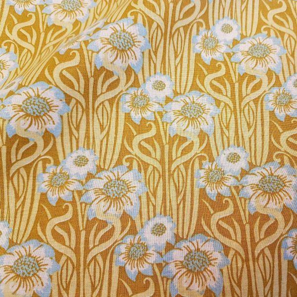 Stoff Meterware Baumwolle Blumen gelb senf hellblau geblümt Kleiderstoff moutard retro