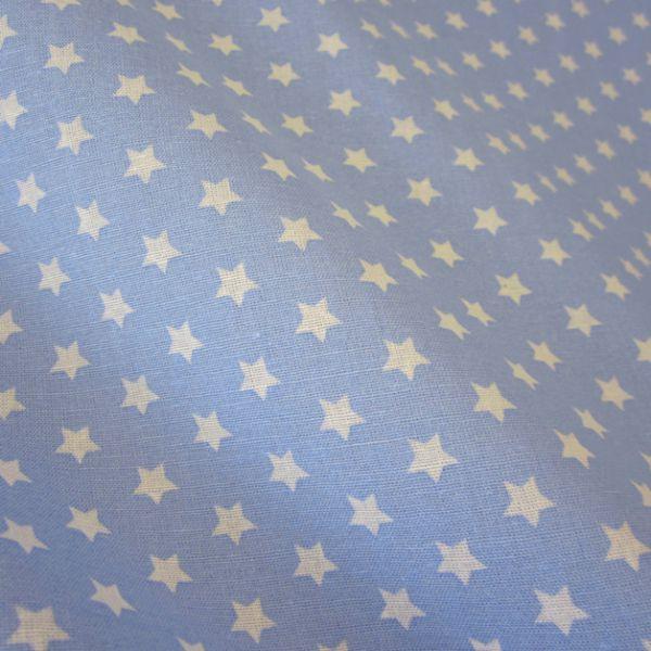 Stoff Baumwollstoff Stern Sterne hellblau weiß 9 mm neu