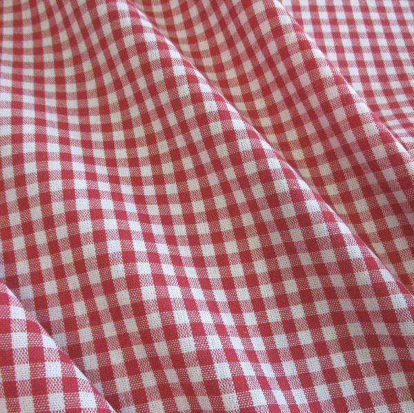 Stoff Baumwolle Vichykaro rot weiß 4 mm kariert Karo Meterware 0,5