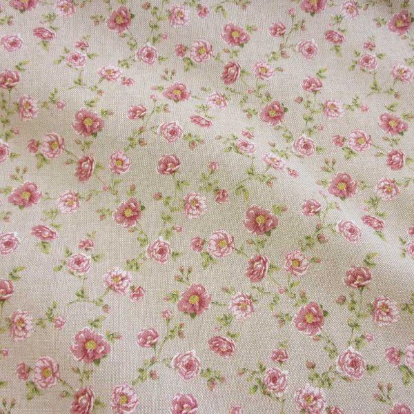 Stoff Baumwollstoff Leinenoptik natur Rosen Röschen rosa
