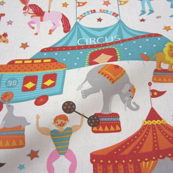 Stoff Baumwolle Zirkus Cirkus bunt Elefant Löwe