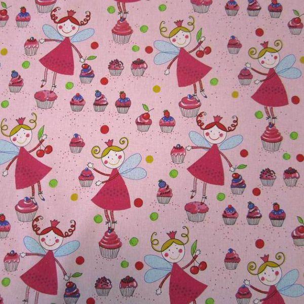 Stoff Baumwolle Prinzessin Kuchenfee Muffins rosa