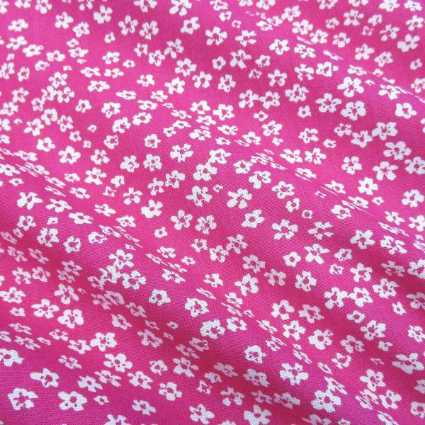 Stoff Baumwollstoff Mille Fleur Streublümchen Blumen pink weiß