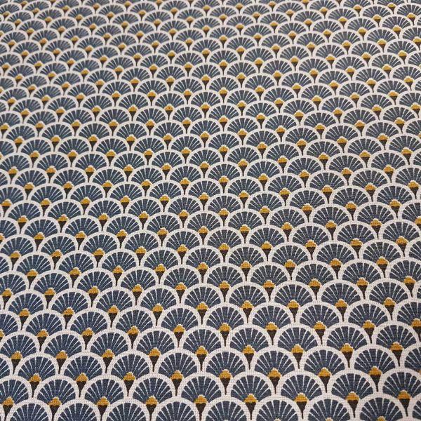 Stoff beschichtet Baumwolle Fächer rund indigo dunkelblau messing 0,5