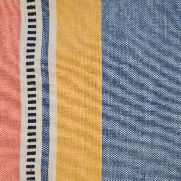 """Stoff Baumwolle """"Luz"""" jeansblau gelb koralle weiss Streifen durchgewebt 0,5"""