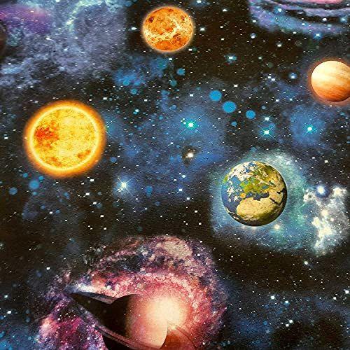 Stoff Meterware Baumwolle Weltall Weltraum Planeten 0,5