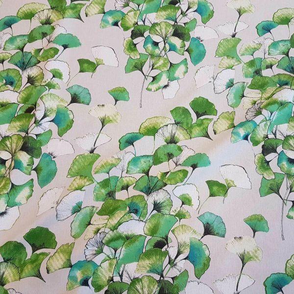 Stoff Meterware Baumwollstoff Ginkgo Blätter grün Ginko
