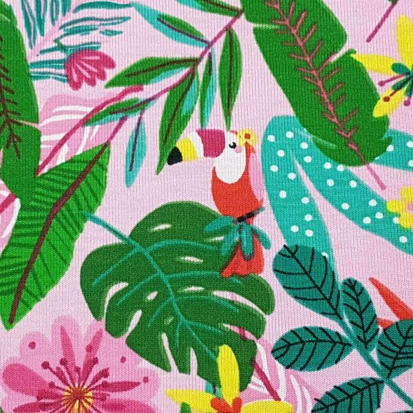 Stoff Meterware Jersey Baumwolle rosa Flamingo Dschungel 0,5