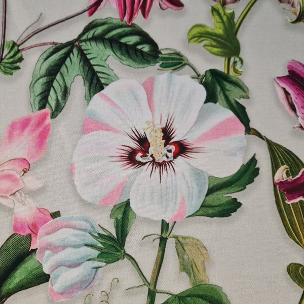 "Stoff Baumwolle Satin ""Liliar"" graubeige Lilien Orchideen bunt 0,5"