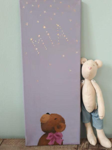 "Bild Öl auf Leinwand Teddy ""Mia""Sterne"