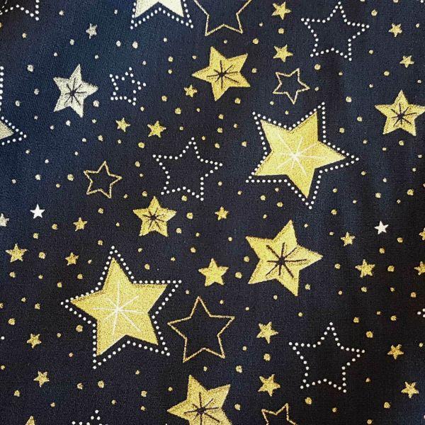 Stoff Meterware Baumwolle dunkelblau gold Sterne Weihnachten Weihnachtsstoff Deko